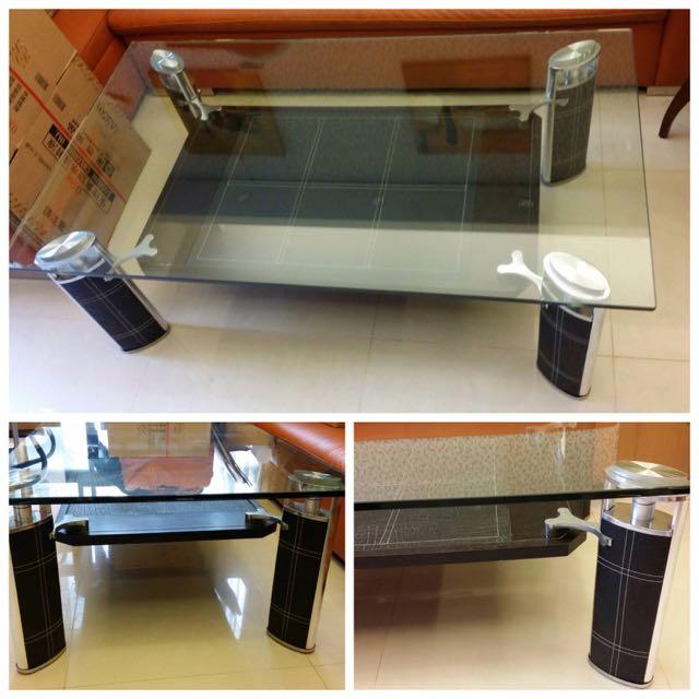 [二手特賣] 玻璃面+皮革柱矮桌/客廳桌 (誠可議)