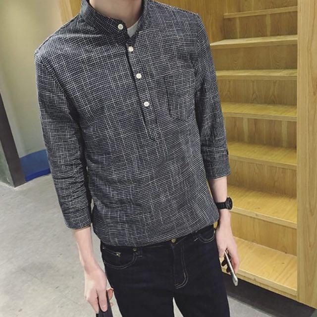 韓版修身細格 亨利領 七分袖襯衫