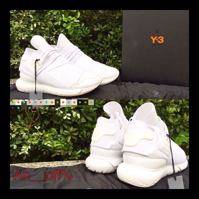 全白 Y-3 Qasa neoprene and leather trainers