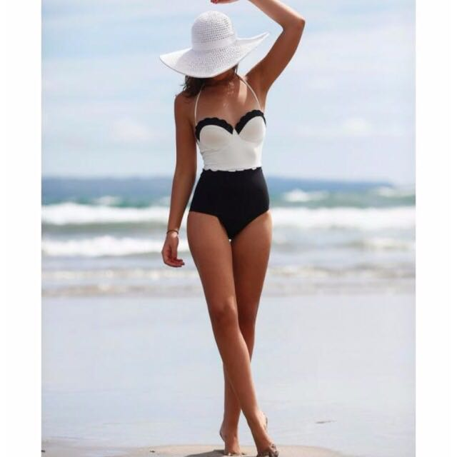 2ec88c042dd4b Brand New Scallop Edge One Piece Swimming Bath Suit, Women's Fashion on  Carousell