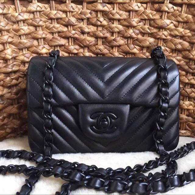 ac797c5151af9e Chanel Chevron So Black Mini Rectangle Flap, Women's Fashion on Carousell