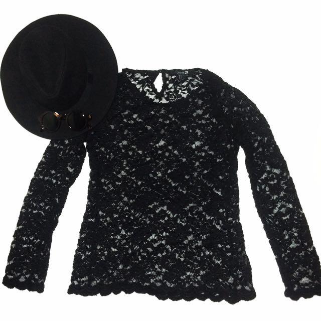 Forever 21 black brokat top