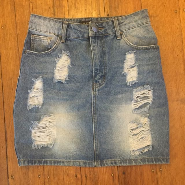 Glassons Ripped Denim Skirt