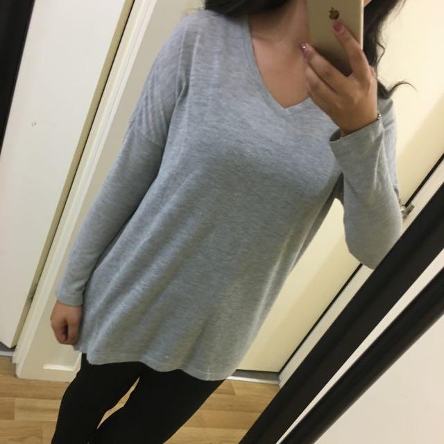 Grey V-Neck Knit