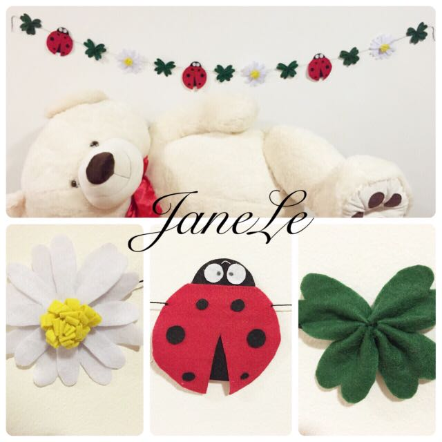 Handmade Lady Bugs And Daisy Garland