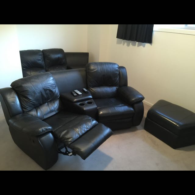 Leather (Black) Home Theatre Lounge Suite