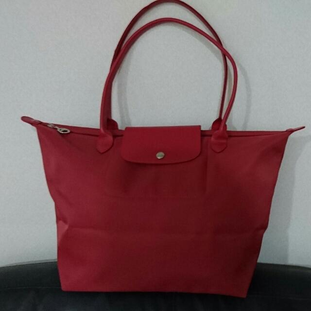 法國購回Longchamp百搭紅色長背帶中包