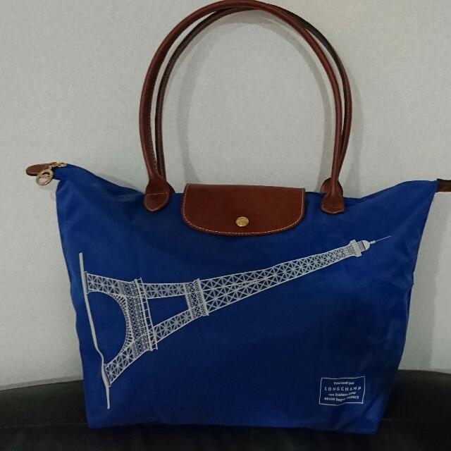 法國購回Longchamp寶藍色限量版巴黎鐵塔長背帶中包