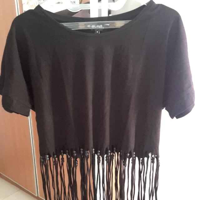 New Look Fringe Crop Tee