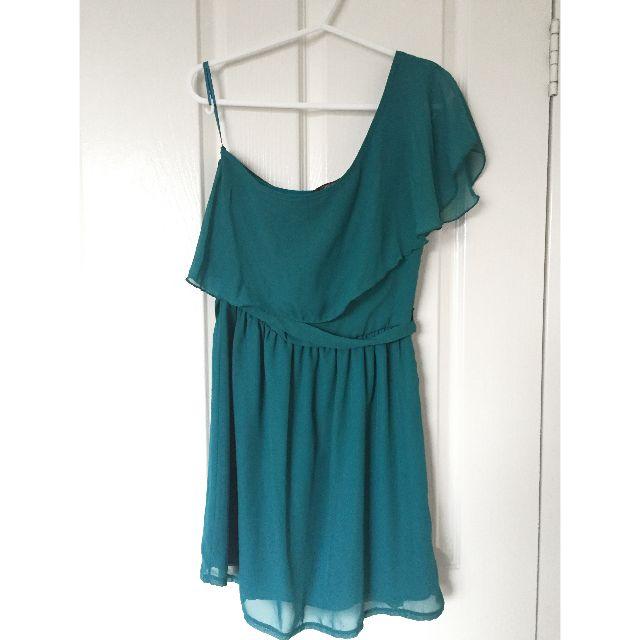 One Shoulder Turquoise Chiffon Mini Dress Size 8