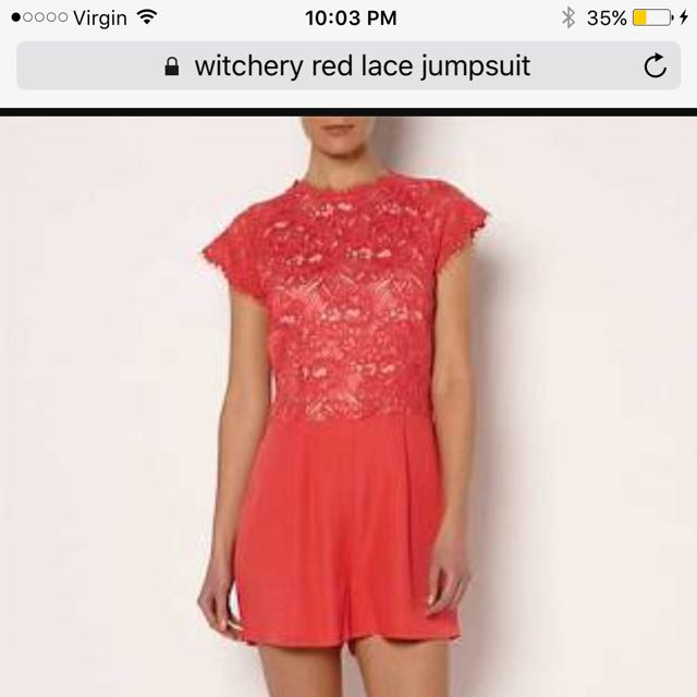 Witchery Red Lace Jumpsuit Size 10