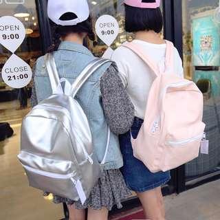 預購 銀色亮面後背包 純色閨蜜雙肩背包