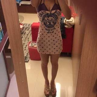 紫色星星粉紅罩杯洋裝