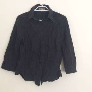 Black Embroided 3/4 Sleeve Shirt.
