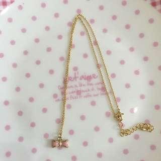 粉色蝴蝶結項鍊
