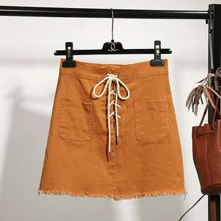 Khaki Shoelace Skirt