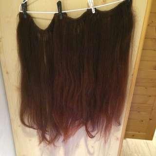 26吋及腰真髮髮片共三片 100%真髮可染可燙