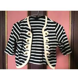 TOPSHOP Striped Crop Jacket S 8