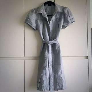 Striped Shirt Dress Pleated