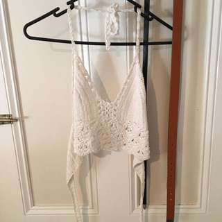 White Crochet Crop Top