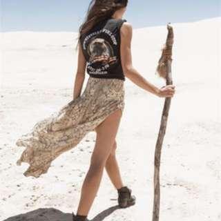 Spell Designs Aloha Python Split Skirt L