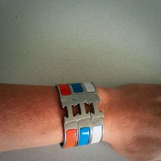 3X Hermes Bracelets, White, Blue, Orange