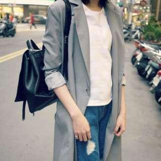 韓國長版西裝外套