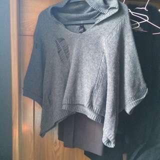 針織短版連帽斗篷/罩衫
