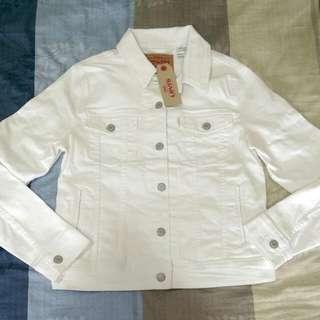 全新 Levi's 女 全白 牛仔外套 M號