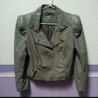 Khaki Leather Jacket