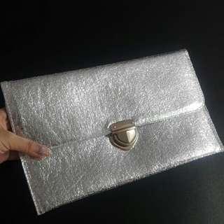Silver Foil Clutch Bag