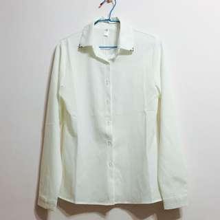 顯瘦修身白雪紡長袖襯衫