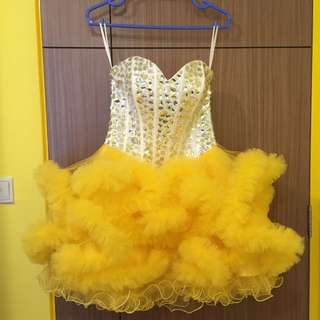 Exquisite Evening Gown  (White & Yellow)