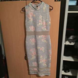 Grey/Pastel Floral Kardashian Kollection dress