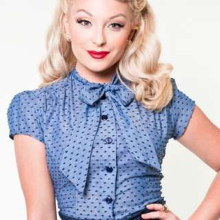 Heart Of Haute New Chambray Blouse Bow Tie Top