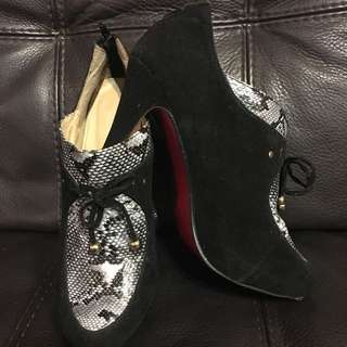 Black Suede And Snake Print Ankle Heals