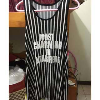 🚚 「全新」MiuStar 直條紋不修邊下擺傘狀挖背背心裙