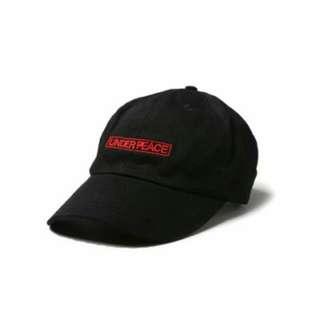 UNDER PEACE 15SS方塊復古皮扣棒球帽 老帽 LINE BOX BASEBALL CAP 黑色 紅色字