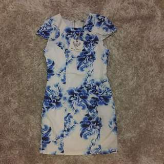 Pop Cherry Dress Blue And White