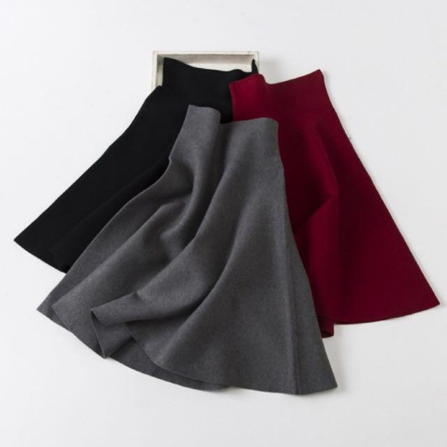 (近全新含運)針織高腰彈性酒紅圓裙#好秋服飾