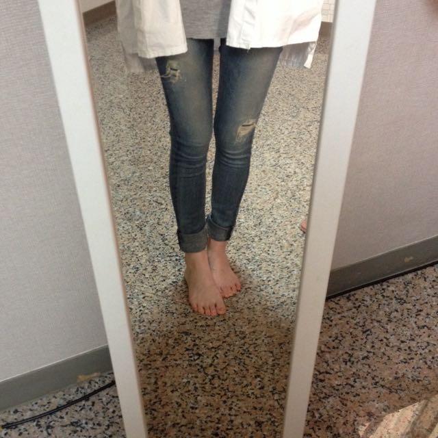 低腰緊身牛仔褲