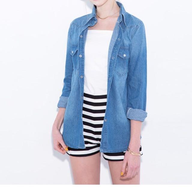淺藍刷色丹寧牛仔外套