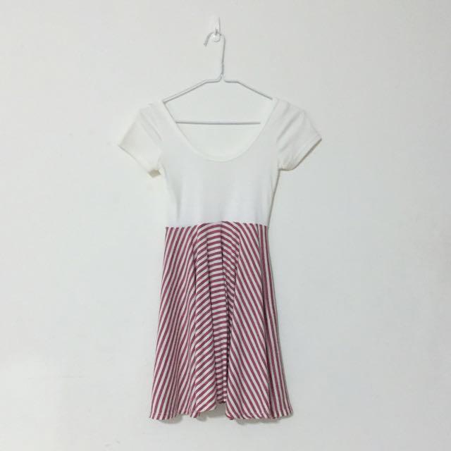 紅白條紋清新小洋裝