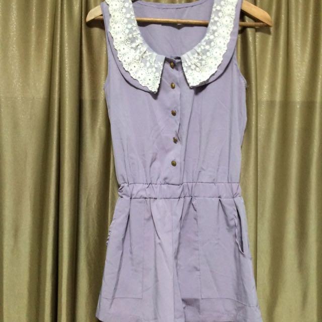 紫色/藕芋 連身褲裙