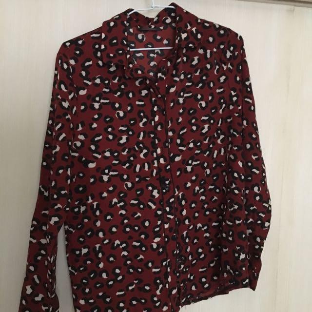 豹紋紅雪紡長袖襯衫 韓