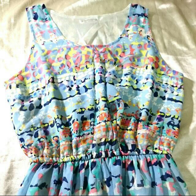 [二手] 夏天藍系雪紡長洋裝