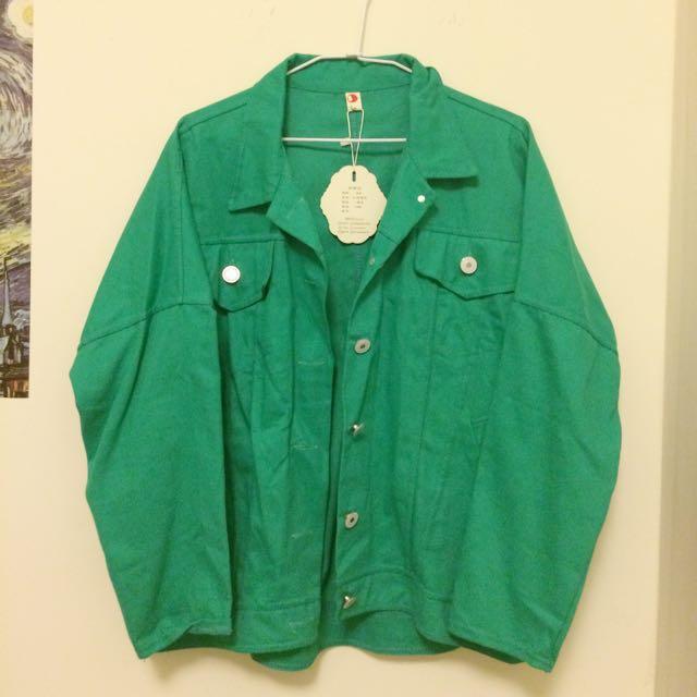 牛仔外套牛仔襯衫 糖果色襯衫 綠色襯衫
