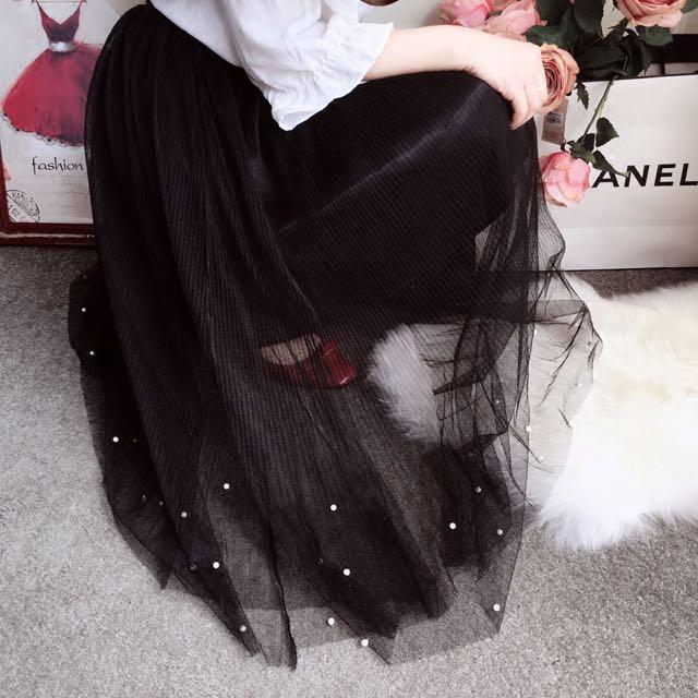 小珍珠 白摺黑色紗裙 春夏必備 韓版