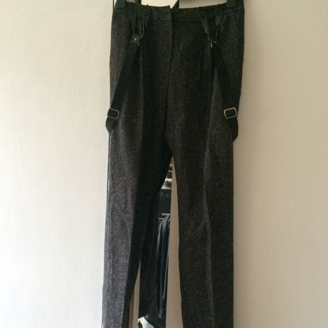 ASOS GREY MARLE DRESS PANTS WITH SUSPENDERS (detachable) SIZE 6