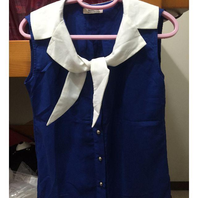 「全新」Basezoo貝思奇 水藍色雪紡無袖上衣M